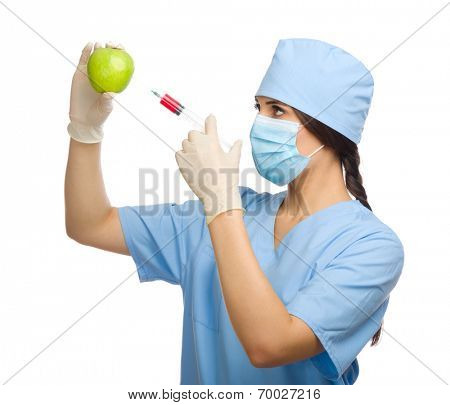 Biochemist with apple and syringe isolated