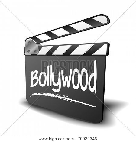 detailed illustration of a clapper board with Bollywood term, symbol for film and video genre, eps10 vector