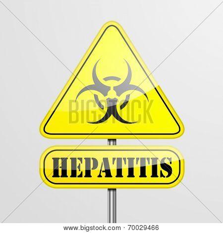 detailed illustration of a yellow Hepatitis biohazard warning sign, eps10 vector