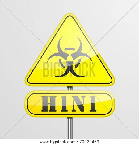 detailed illustration of a yellow H1N1 biohazard warning sign, eps10 vector