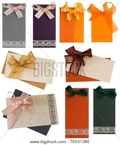 collection of various labels with bows isolated on the white background