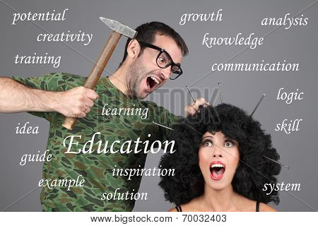 Concept - Education, Learning, Tutor. Putting information in head.