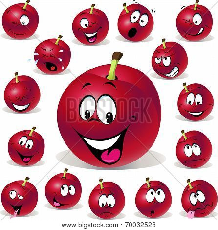 Red Plum Cartoon Illustration With Many Expressions