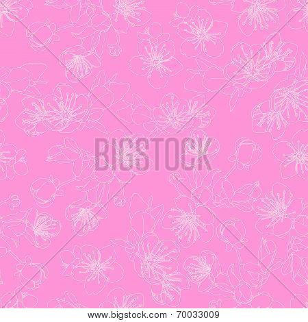 seamless pattern with flowers of sakura