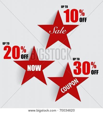 Sale Coupon, voucher, tag, sticker. Modern Style template Design vector illustration.
