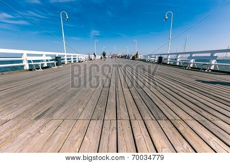 Sopot, Poland - 9 August: People On Sopot Molo At Baltic Sea, 9 August 2014. Sopot Is Major Health A