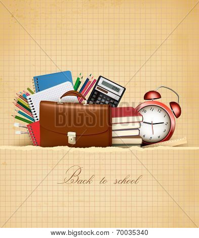Back to school. Retro education background with school supplies and old paper. Vector.