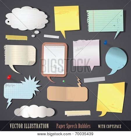 vector illustration set of textured paper speech bubbles