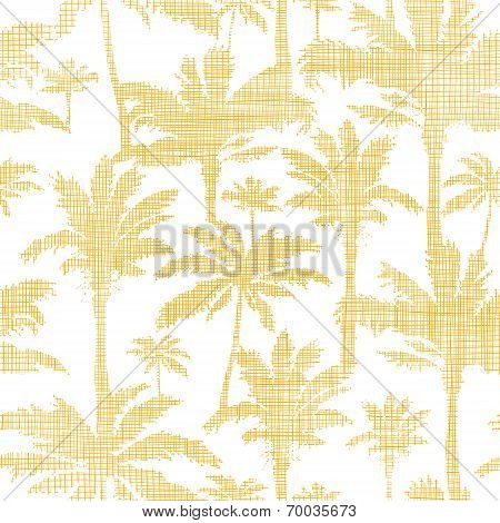 vector palm trees golden textile seamless pattern background