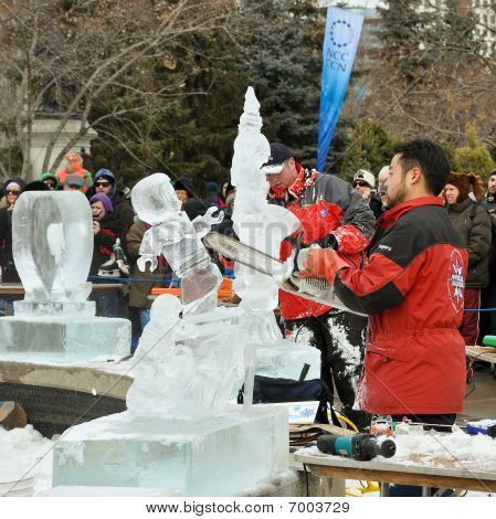 Ice sculptors at work