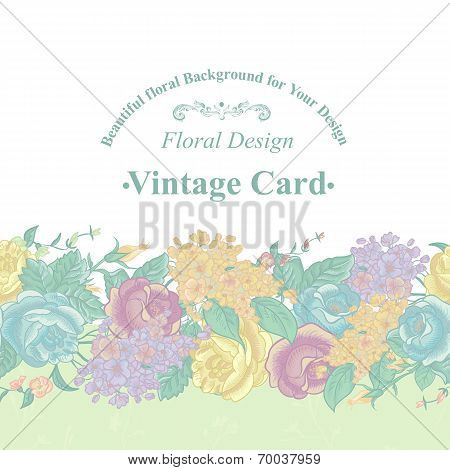 Floral Greeting Card with Wildflowers.