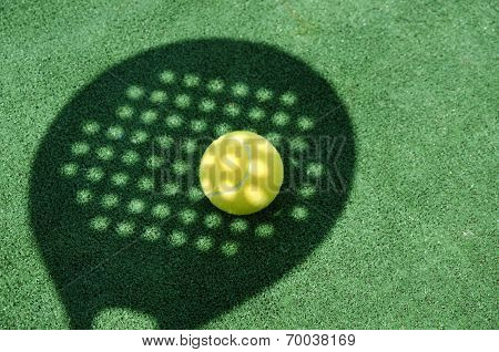 Paddle Tennis Racket Shadow On Ball