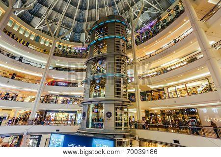 KUALA LUMPUR - JUNE 14: Interior of Suria KLCC on on June 14, 2013 in Kuala Lumpur, Malaysia. Suria KLCC is the ultimate luxury shopping destination in Malaysia.