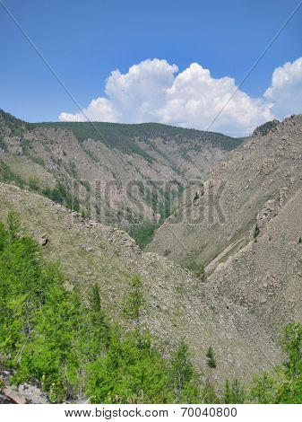 Nature Of Baikal. The Outcrop Of Rocks On The Hills