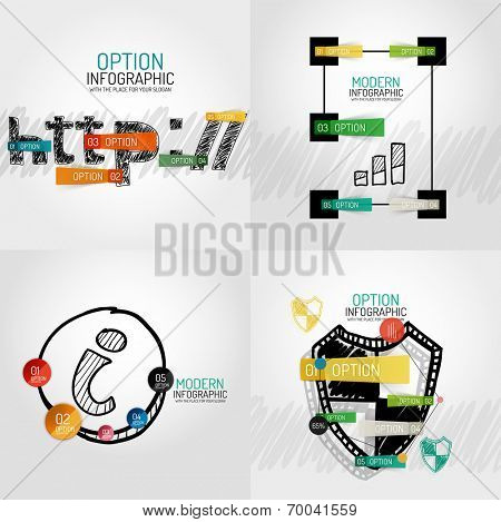 Hand drawn internet concepts and stickers with options. Unusual abstract infographic collection - http, graph and lines, information buttons and protection shield