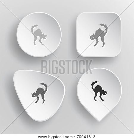 Cat. White flat vector buttons on gray background.