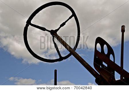 Worn steering wheel of tractor