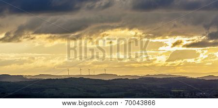 Romantic Sunset In Sankt Wendel With Wind Power Plants