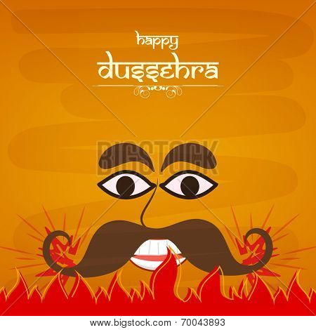 Illustration of laughing  Ravana face in comic way with big dark eyes and big black  moustaches  in red fire on a orange shaded background.
