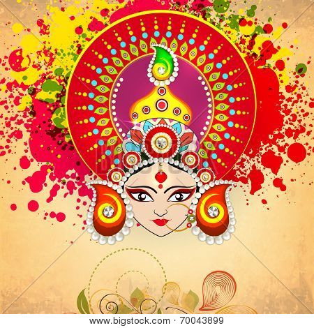 Beautiful illustration of Goddess Duraga face wearing a nice crown in red decorated with pearls and beads on colourful vintage background with florel decoration.