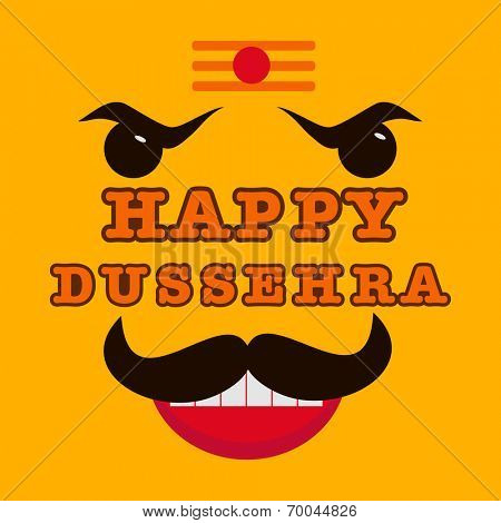 Happy Dussehra celebrations concept with angry Ravana face on yellow background, can be use as poster or banner.