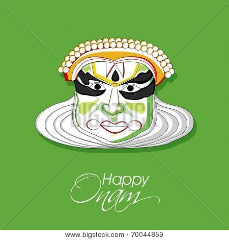 Illustration of South Indian cultural dance Kathakali, Dancer face on green background for Happy Onam festival.