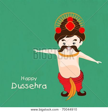 Funny illustration for Dussehra wearing red clothes and crown on a simple green background.