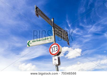 Street Sign For Nandus Under Blue Sky