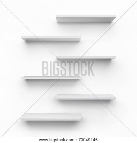 Empty shelves isolated on white background.