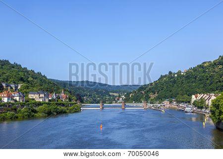 Neckar River Panorama In Heidelberg