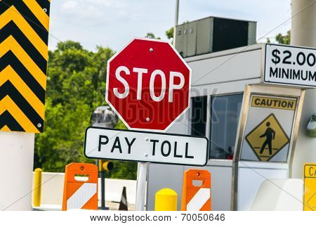 Toll Road sign at a toll bridge in Texas