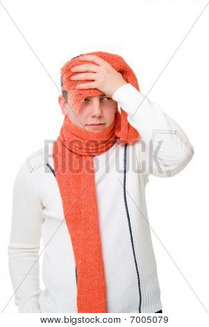 Sick Young Man Holding His Head