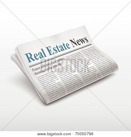 Real Estate News Words On Newspaper