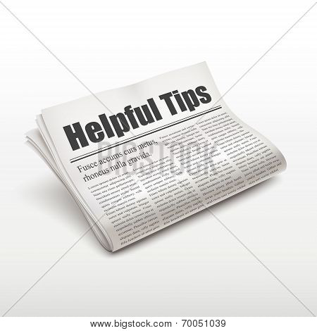 Helpful Tips Words On Newspaper