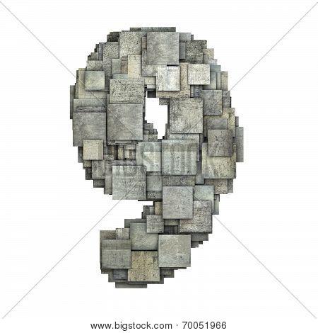 3D Gray Tile Nine 9 Number Fragmented On White