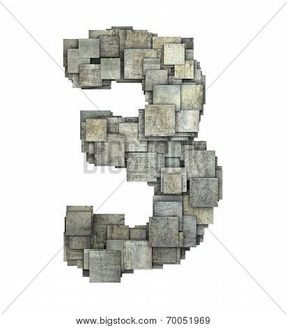 3D Gray Tile Three 3 Number Fragmented On White