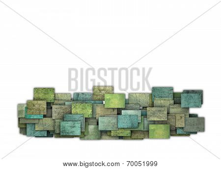 3D Green Yellow Square Tile Grunge Pattern On White