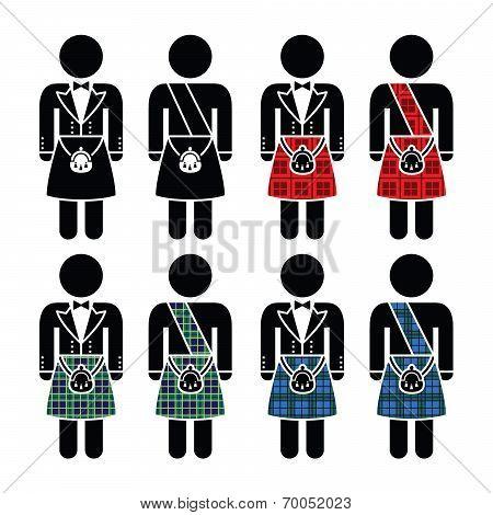 Scotsman, man wearing kilt vector icons set