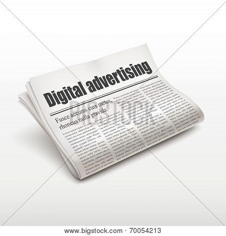 Digital Advertising Words On Newspaper