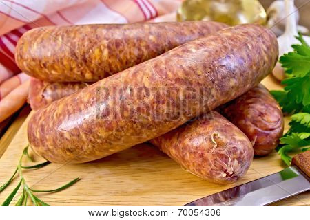Sausages Beef On A Board