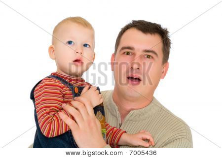 Father And Son Look With Open Mouth