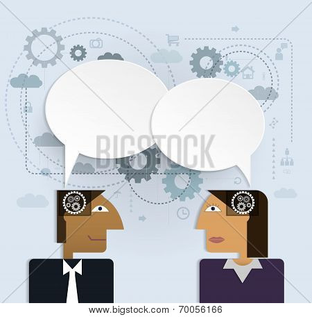 Vector Illustration Business People With Speech Bubble.Social Network