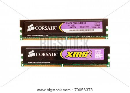Hayward, CA - August 11, 2014: 2GB memory sticks of Corsair XMS2 desktop 800MHz DDR2 DRAM showing both sides