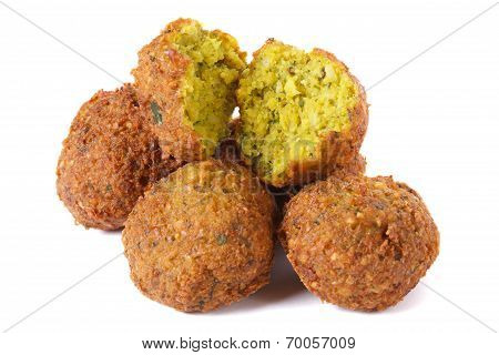 Whole And Half Falafel Isolated On A White Background