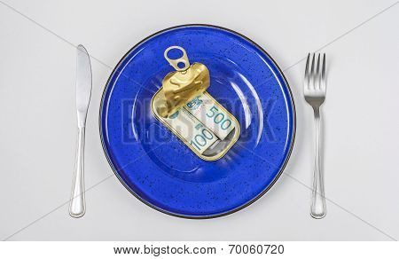 Money Served In Tin Can On White Background