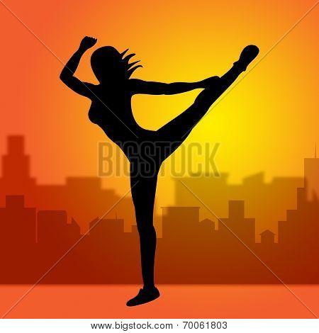 Dancing Posing Represents Yoga Pose And Spirituality