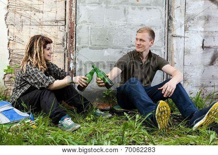 Teenagers Drinking Beer After School