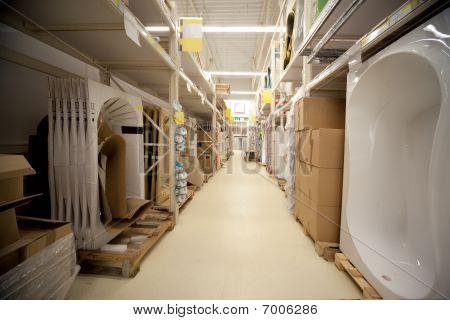 Racks in warehouse sanitary technicians in supermarket