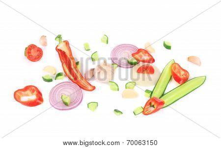 Sliced ripe vegetables.