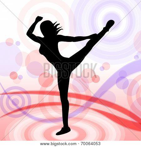 Posing Dancing Represents Yoga Pose And Relaxing